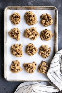 A tray Pumpkin Oatmeal Chocolate Chip Cookies