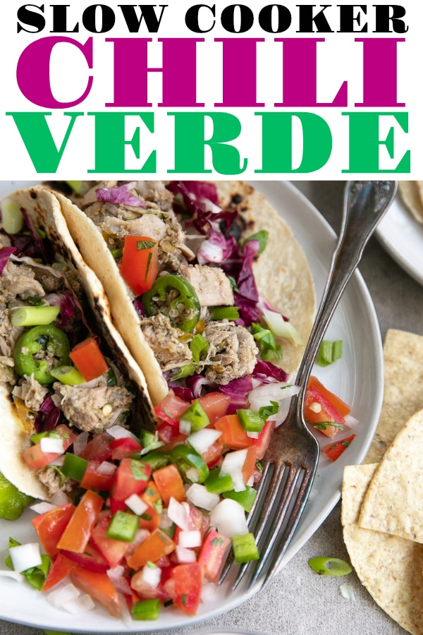 Slow Cooker Chili Verde- made of tender and juicy pieces of pork slow-cooked together with mild green chilis. Serve for dinner with warm tortillas and fresh salsa, or take along to the next potluck, this Chili Verde Pork delicious and amazingly easy! #glutenfree #slowcooker #porkrecipe #slowcookerchiliverde #easydinneridea #tacos #chiliverde #crockpot | For this recipe and more visit, https://theforkedspoon.com
