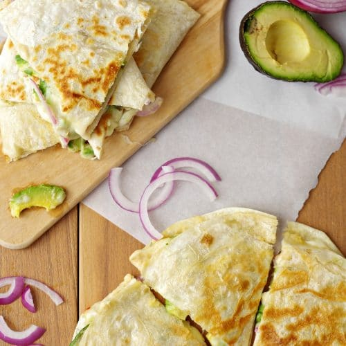Hummus, Avocado and Cheese Quesadillas