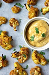 Oven Roasted Curried Lime Cauliflower with Curried Mayo Dip