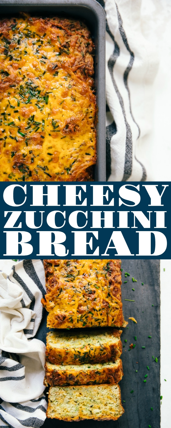 Cheesy Zucchini Bread made with fresh and healthy zucchini, shredded cheddar cheese, and chives is a delicious and easy savory quick bread loved by the whole family. No fancy mixers or kneading required #cheesyzucchinibread #quickbread #cheesebread #cheesybread #savoryquickbread #zucchinibreadrecipe #quickbreadrecipe | For this recipe and more visit, https://theforkedspoon.com