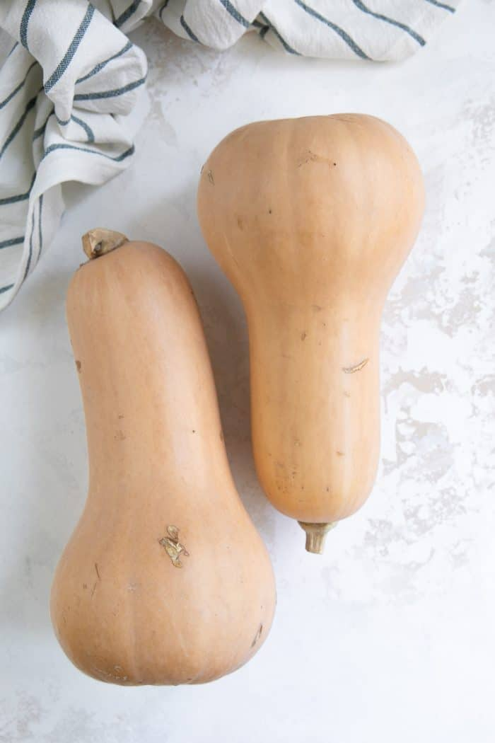 two whole butternut squash