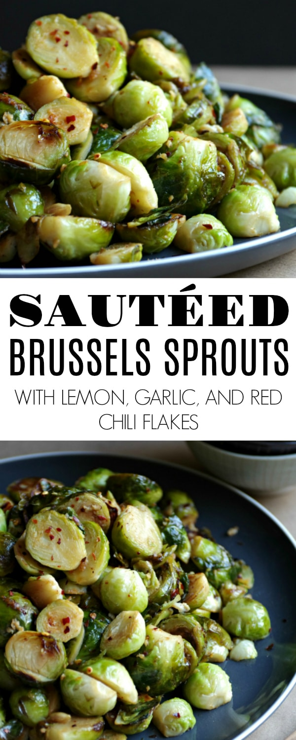 Sautéed Brussels Sprouts with Lemon and Garlic #brusselssprouts #thanksgiving #sides #easyrecipe #vegetarian #sidedish #sauteedbrusselssprouts | For this recipe and more visit, https://theforkedspoon.com/roasted-brussel-sprouts-with-lemon-garlic-and-red-pepper