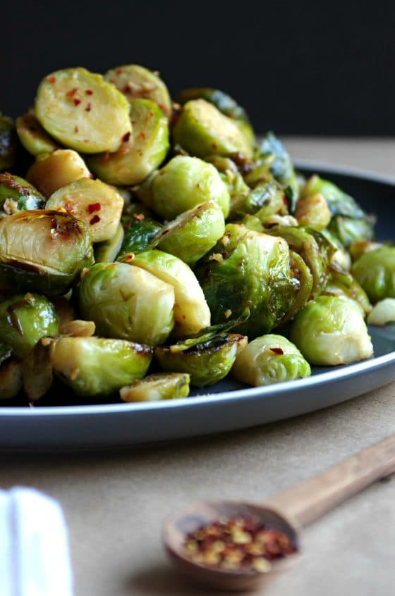 Sauteed Brussel Sprouts with Lemon, Garlic and Red Chili Flakes