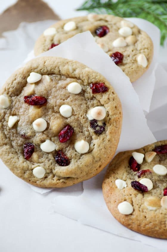 Soft and Chewy Cranberry and White Chocolate Chip Cookies