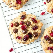 Cranberry Chocolate Chip Oatmeal Cookies cooling on a cooling rack.