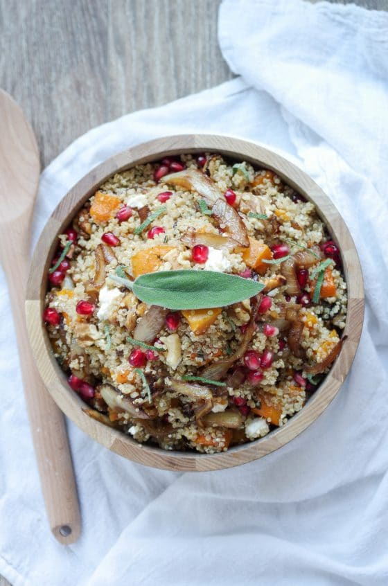 Quinoa with Garlic Roasted Butternut Squash, Feta and Caramelized Onions