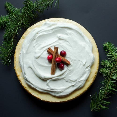 Eggnog Cheesecake with Eggnog Whipped Cream