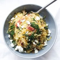 Spaghetti Squash with Spinach, Bacon and Goat Cheese