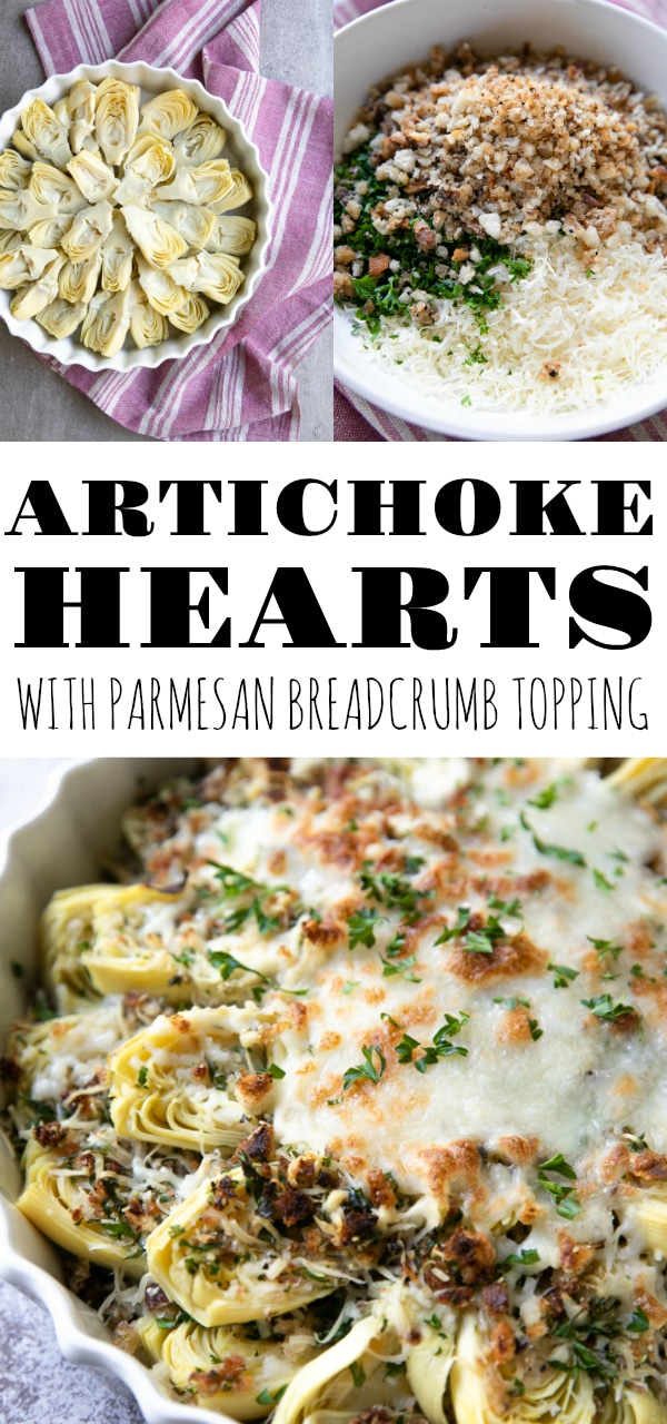 Canned Artichoke Hearts with Parmesan Breadcrumb Topping (plus video) #artichokes #appetizer #cannedartichokes #easyrecipe #artichokehearts | For this recipe and more visit, https://theforkedspoon.com/artichoke-hearts-with-bread-crumb-topping