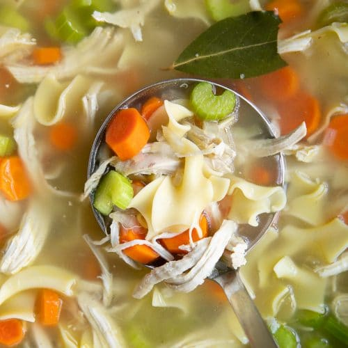 ladle full of Homemade Chicken Noodle Soup Recipe