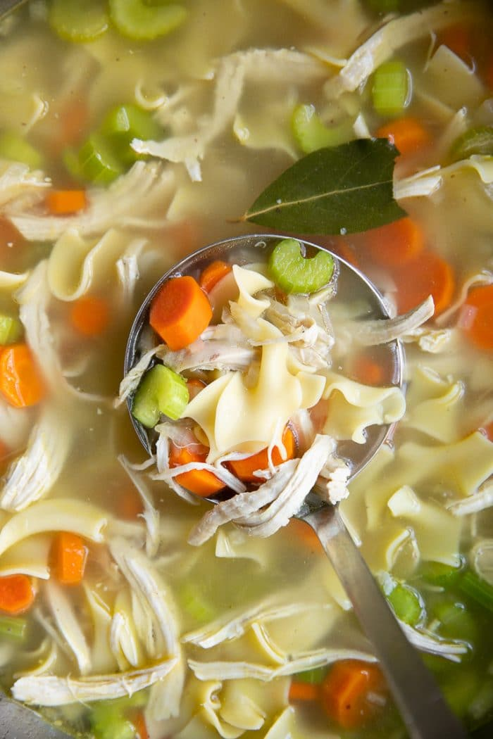 Large soup ladle filled with chicken noodle soup.