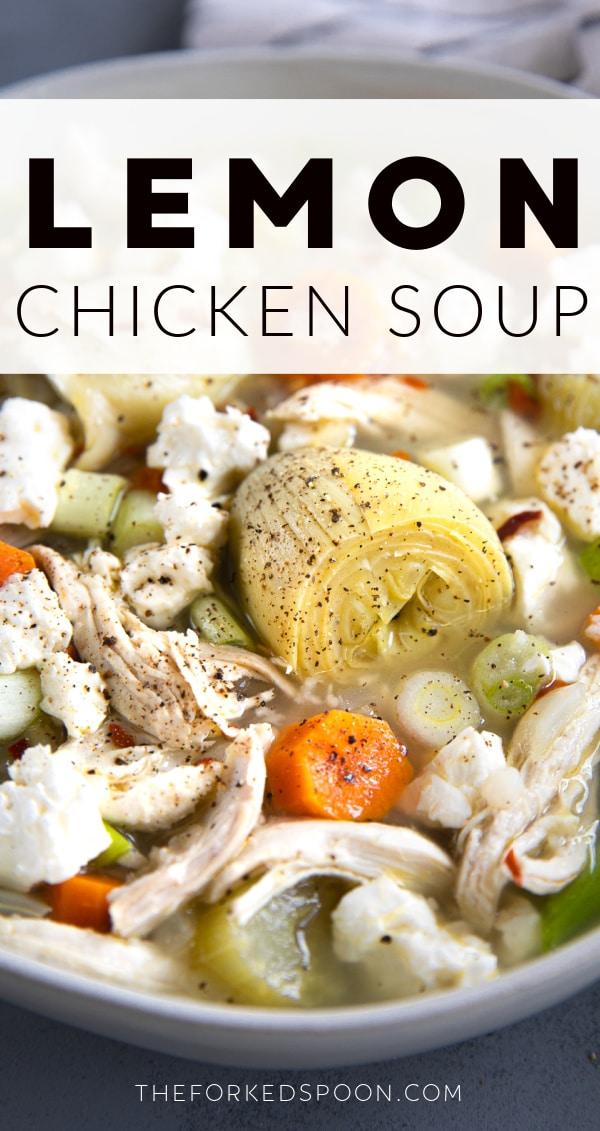 Lemon Chicken Soup Pinterest Pin Image