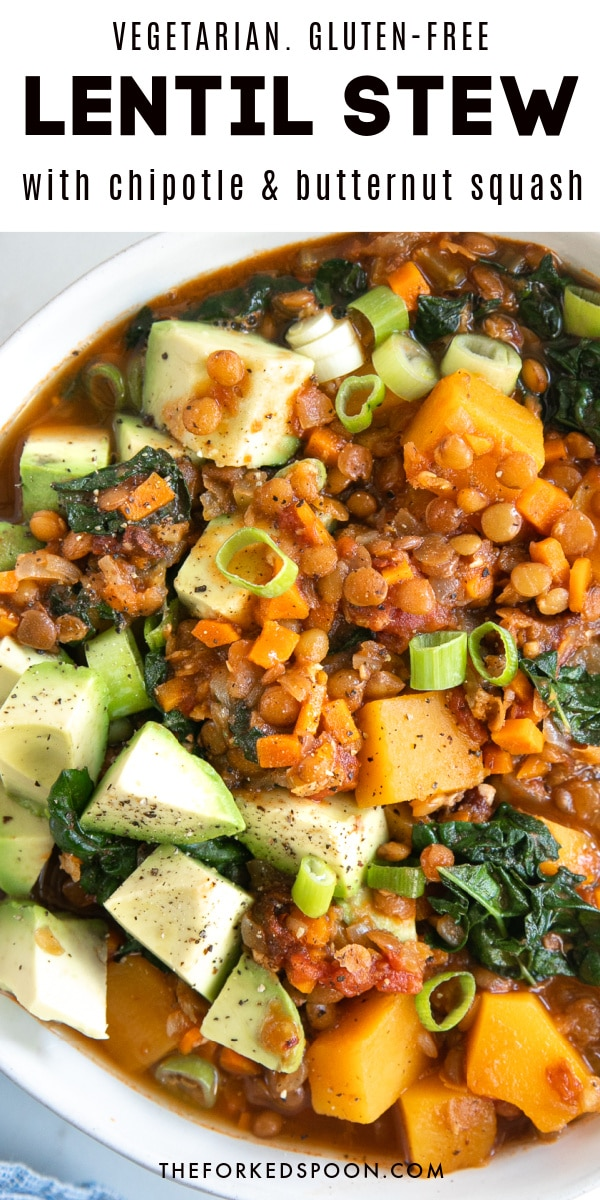 Vegetarian Lentil Stew with Butternut Squash and Chipotle Peppers (Easy One-Pot Recipe) Pinterest Collage
