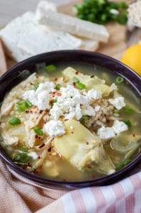 Greek Lemon Chicken Soup with Artichoke Hearts and Couscous