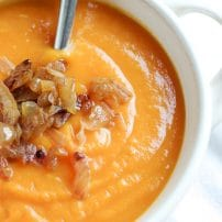 Carrot Ginger Soup with Sautéed Onions