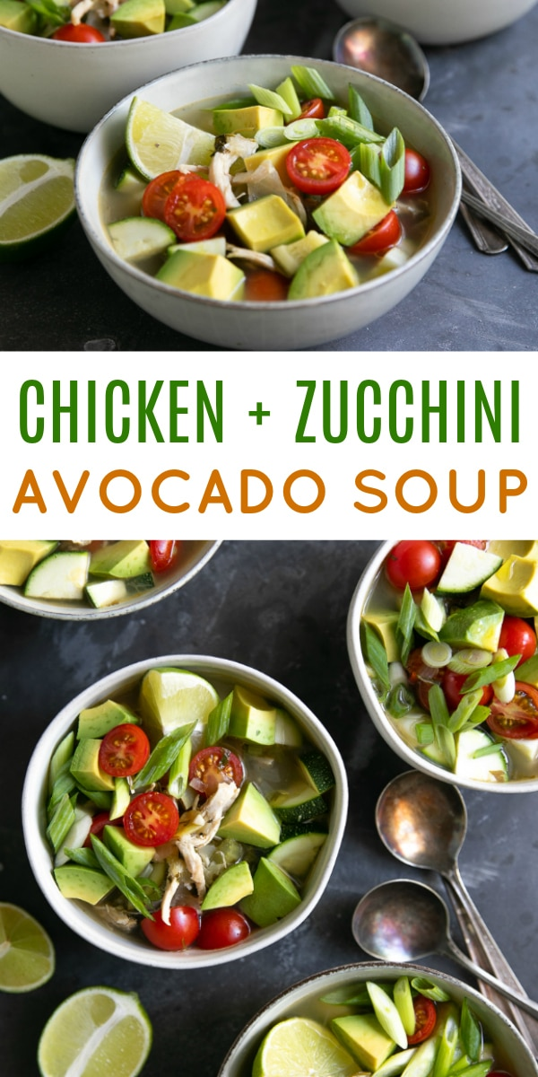 Easy Chicken Avocado Soup Recipe #soup #lowcarb #glutenfree #chickensoup #avocadosoup #warmavocadosoup #souprecipe #healthyrecipe | For this recipe and more visit, https://theforkedspoon.com/chicken-avocado-soup-recipe