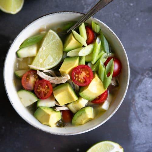 A bowl Avocado Chicken Soup