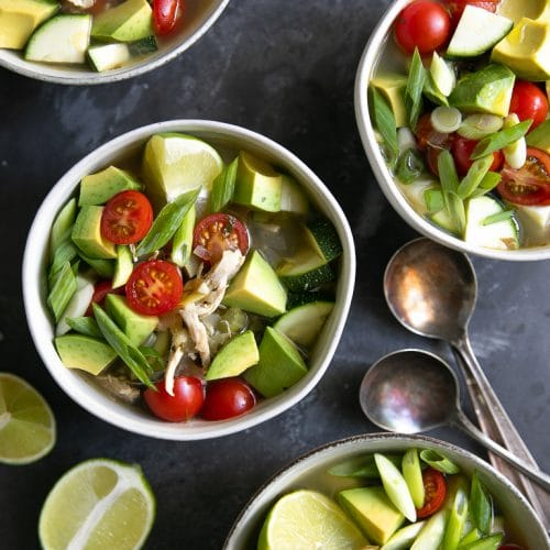A bowl Chicken Avocado Soup