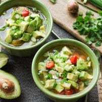 Chicken, Avocado +Zucchini Soup with Lime