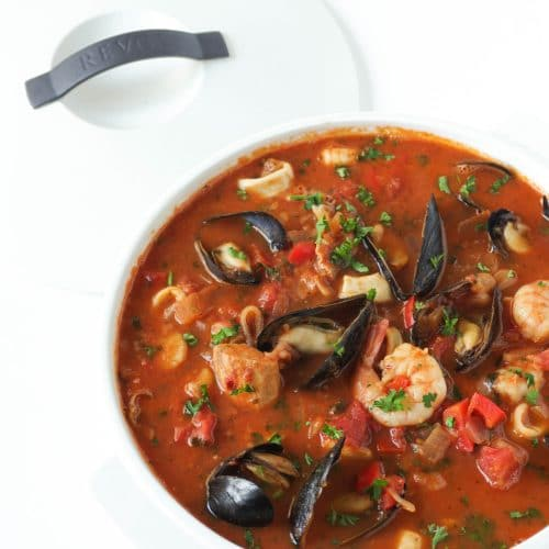 Cioppino (Seafood Stew) with Mashed Potatoes
