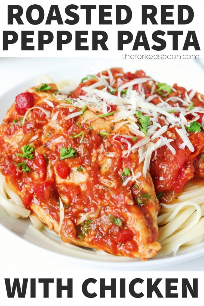 Roasted Red Pepper Pasta with Chicken Pasta Pinterest Pin Image Collage