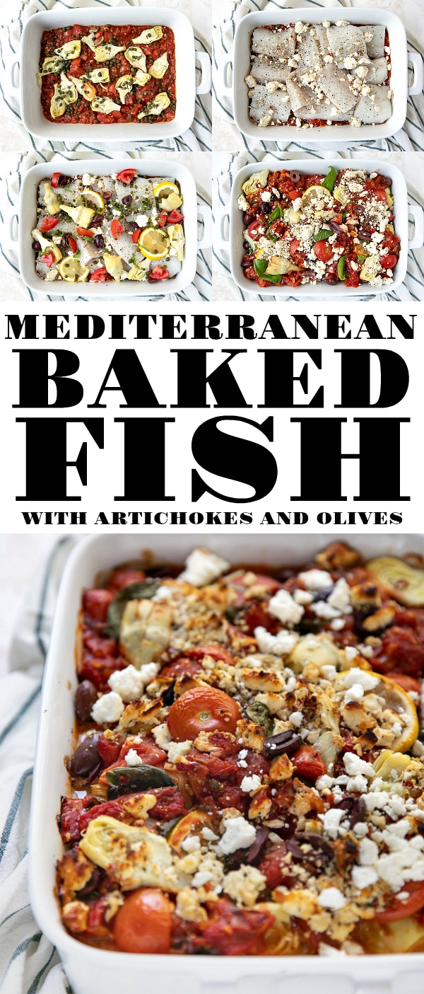 Mediterranean Baked Fish with Artichokes and Olives #fish #fishrecipes #mediterranean #mediterraneandiet #fishrecipe #artichokerecipe #olives #lowcarbrecipes #healthy #lowfat #healthydinneridea #bakedfish #tomatosauce #tomatobasilsauce | For this recipe and more visit, https://theforkedspoon.com