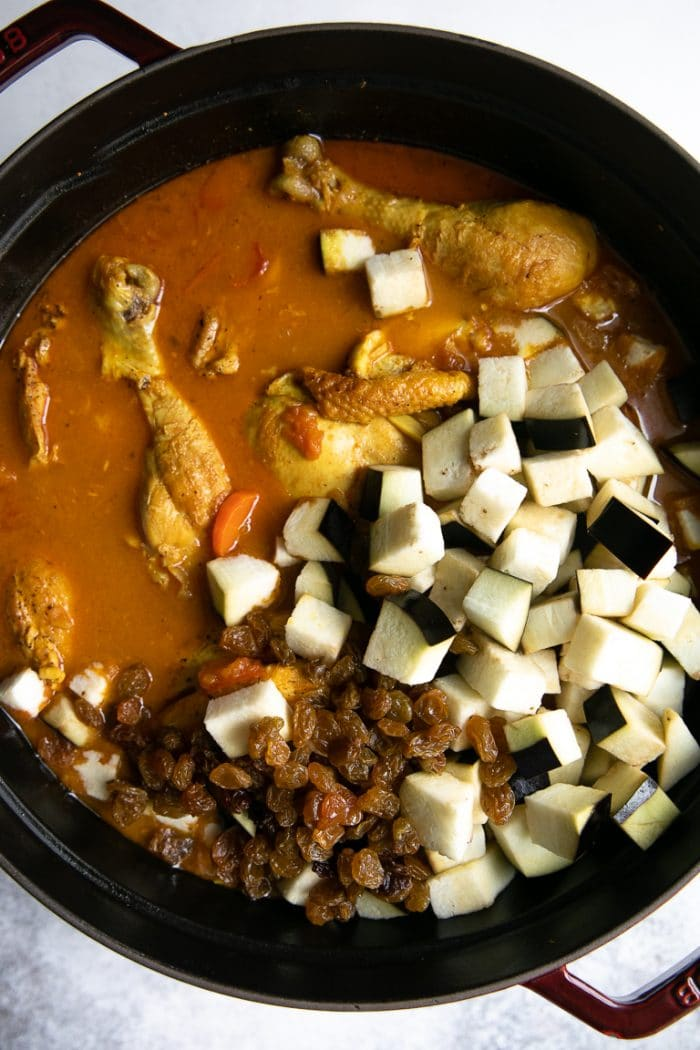 Moroccan Chicken stew with eggplant and golden raisins.