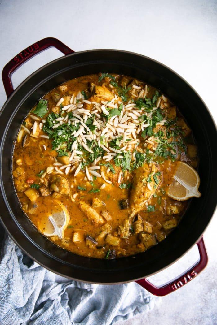 Pot of garnished Moroccan Chicken Stew