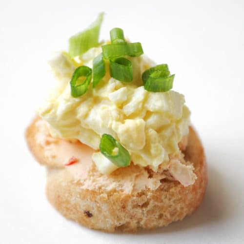 Homemade Biscuits and Deviled Egg Crostini with Boursin® Cheese