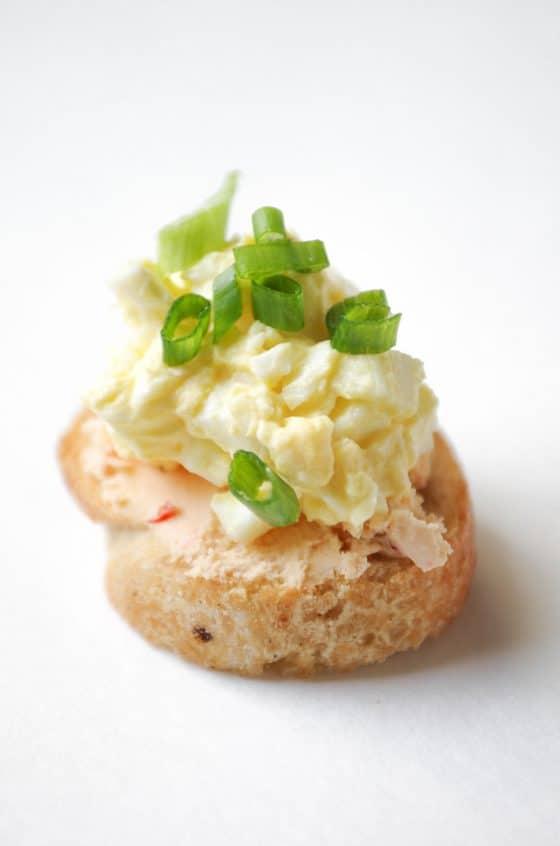 Boursin Cheese Deviled Egg Crostini