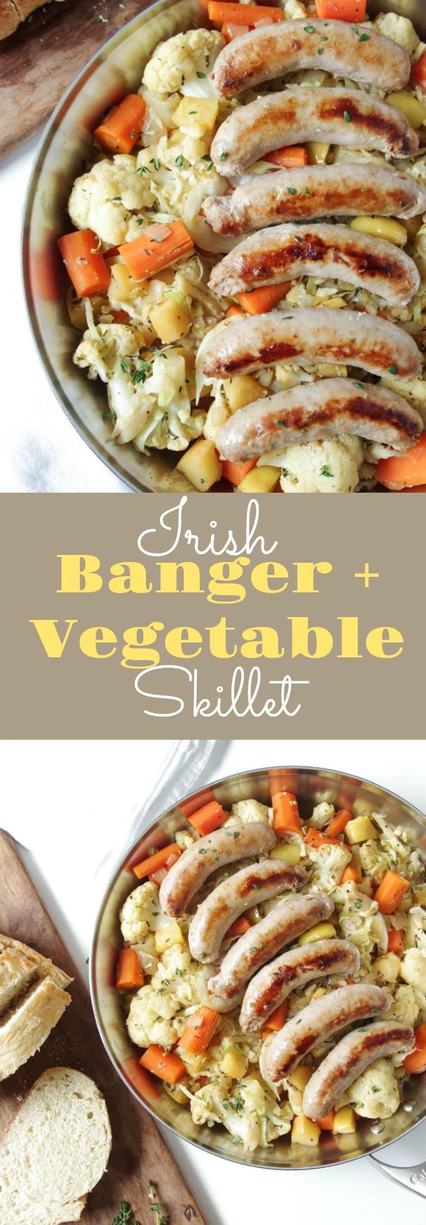 Irish Banger and Vegetable Skillet via @theforkedspoon #onepanmeal #skillet #dinner #sausage #bangersandmash #lowcarb #cauliflower