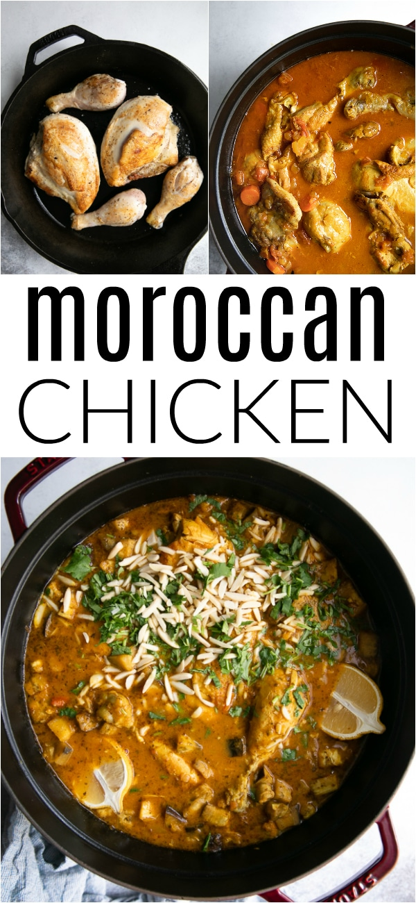 Easy Moroccan Chicken Recipe #chicken #moroccanfood #stew #chickenstew #moroccanstew #eggplant #chickenrecipe | For this recipe and more visit, https://theforkedspoon.com/moroccan-chicken