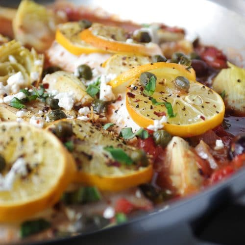 Mediterranean Baked Fish with Artichokes + Olives