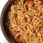 Sundried Tomato + Basil Pesto Pasta with Shrimp