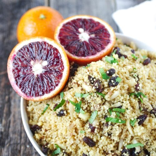 Blood Orange Couscous with Almonds, Raisins + Dates
