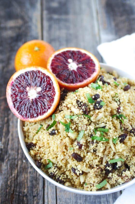 Blood Orange Couscous with Almonds, Raisins + Dates