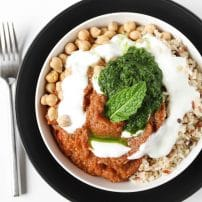 Eggplant Bowl with Mint + Cilantro Chutney
