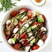 Caprese Salad with Avocado and Balsamic Glaze