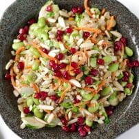 Ancient Grain and Brussel Sprout Salad with Pomegranate Molasses Mustard Dressing