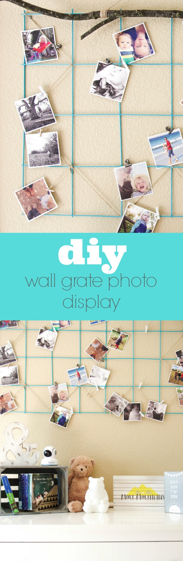 Easy DIY Wall Grate Photo Display via @theforkedspoon  #diy #photodisplay #decor #crafts #picturedisplay #theforkedspoon