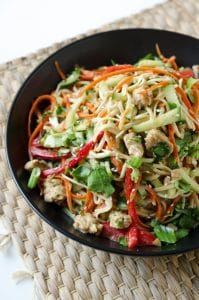 Tempeh Noodle Bowl with Sesame Garlic Dressing