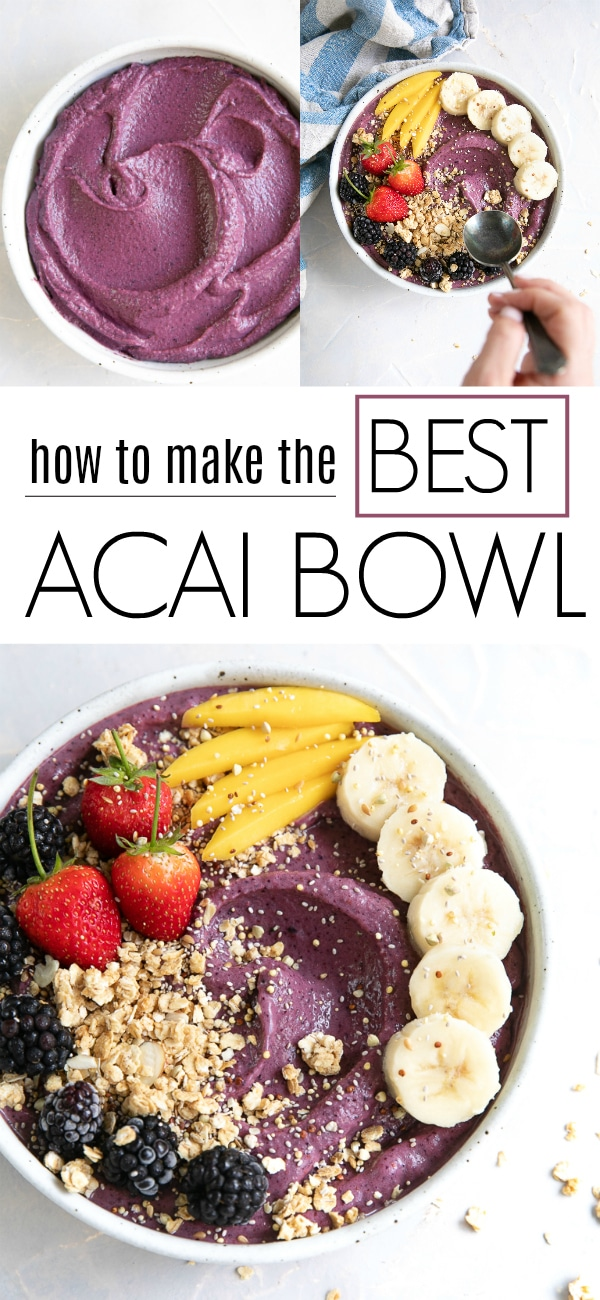 Acai Bowl (the BEST) #acai #acaibowl #smoothiebowl #acaismoothie #superfood #smoothierecipe #breakfastsmoothie | For this recipe and more visit, https://theforkedspoon.com/acai-bowl/