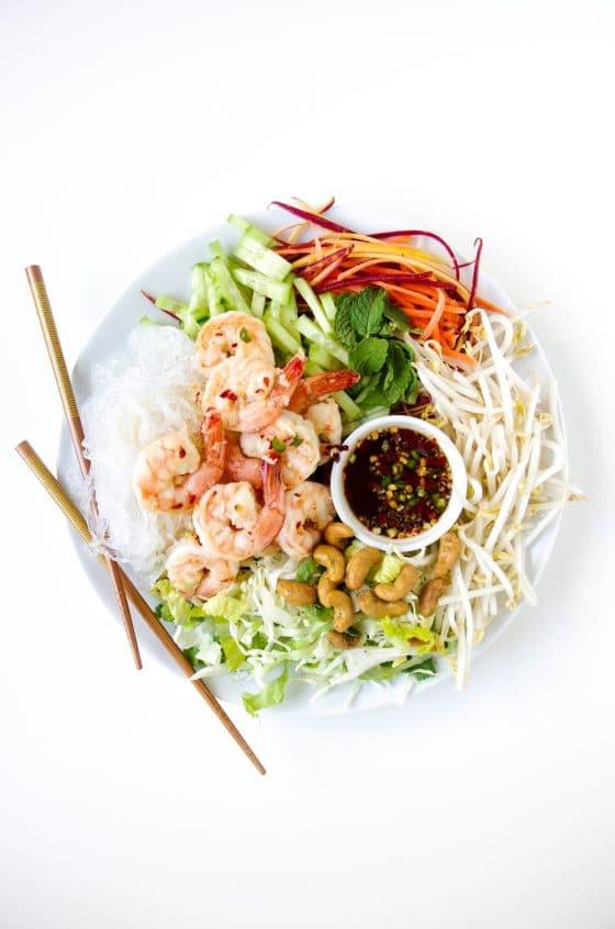 Vietnamese Garlic Prawn Noodle Salad