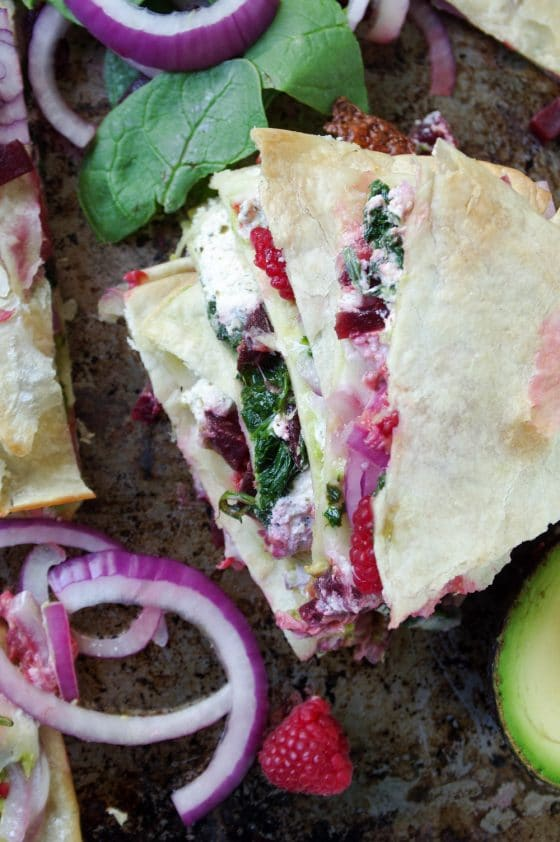 Beet, Spinach and Raspberry Quesadilla with Goat Cheese and Avocado