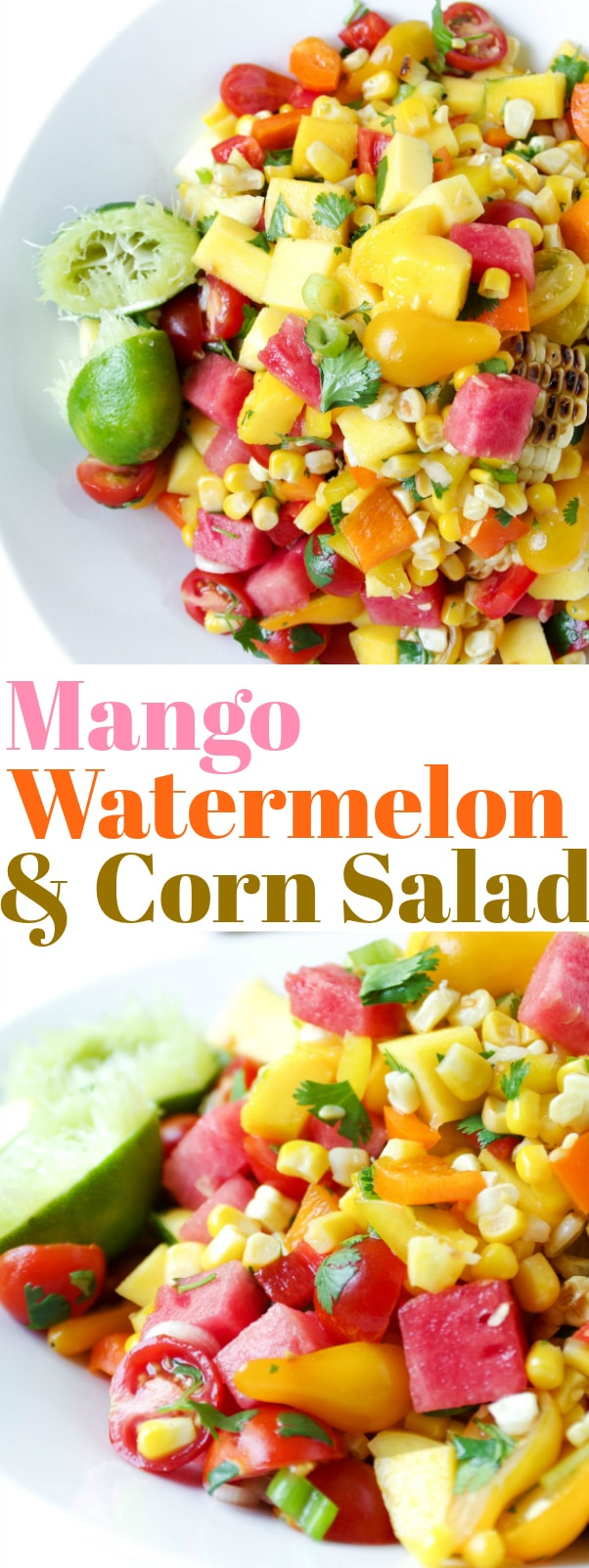 Mango, Watermelon, and Corn Salad via @theforkedspoon #salad #watermelon #summer #potluckrecipe #easyrecipe #mango #corn #healthyrecipe For this recipe and more visit, https://theforkedspoon.com/