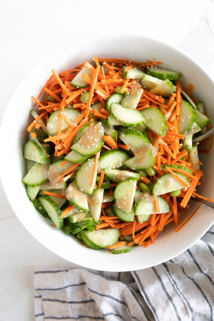 Tossed together miso cucumber salad.