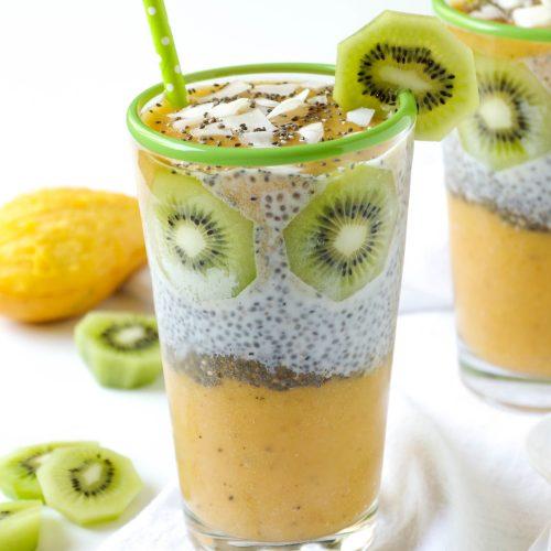 Mango, Peach + Kiwi Chia Seed Pudding Cups
