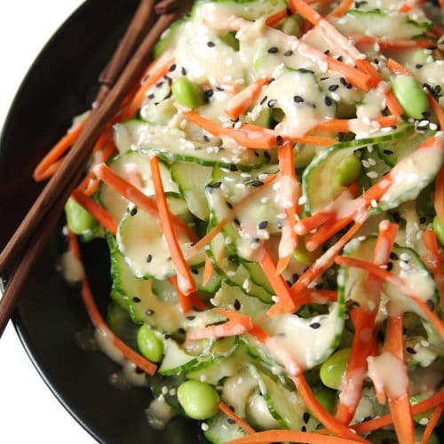 Cucumber Salad with Easy Miso Dressing