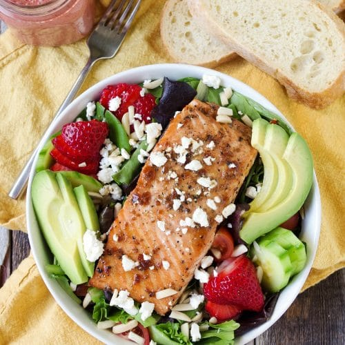 Teriyaki Salmon Salad with Strawberry Vinaigrette